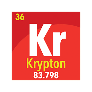 krypton gas periodic table symbol. Krypton is used to insulate between window panes.