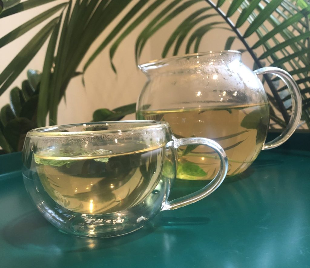 Glass tea kettle with condensation on the outside next to a double-walled tea cup with out condensation or temperature exchange.